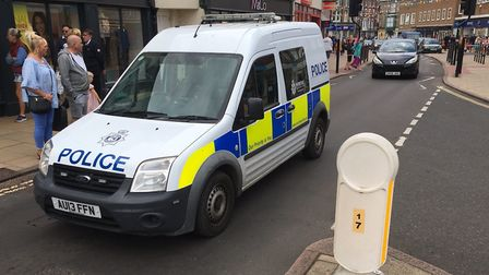 Police were maintaining a high profile presence in Cromer on Sunday. Picture: Ally McGilvray