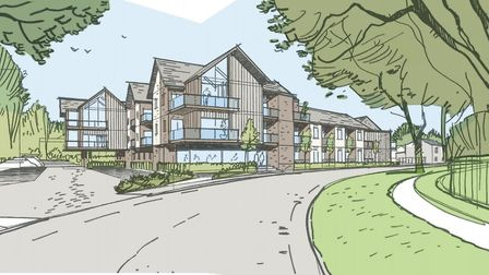 An artist's impression of the proposed housing at Highfields Road car park in Fakenham. Picture: Nor