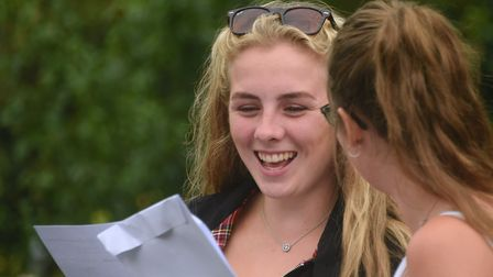 Students celebrate their A Level results at Diss High School. Picture: DENISE BRADLEY