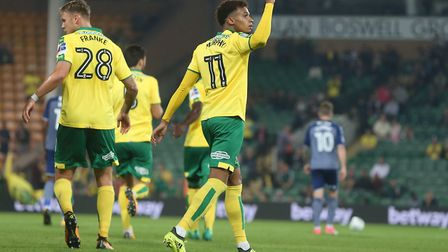 Josh Murphy of Norwich celebrates scoring his sides 2nd goal during the Carabao Cup match at Carrow