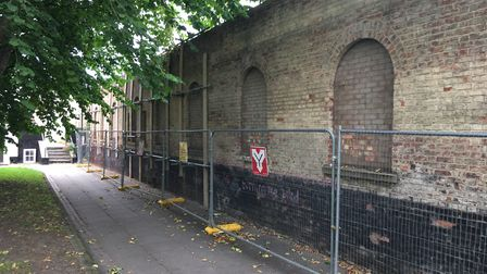 The former iron foundry wall which is at the centre of a planning row. Pic: Dan Grimmer.
