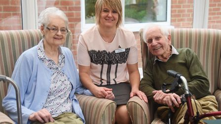 Home manager, Loreta Moss, with residents Helen Drewry, 82, and John Schram, 94, at the Beeches Care