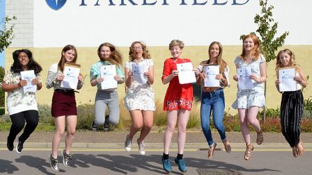 Pakefield High School pupils celebrate their GCSE results. Pictures: Mick Howes