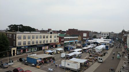 Great Yarmouth two day market from above. August 2017. Photo: George Ryan
