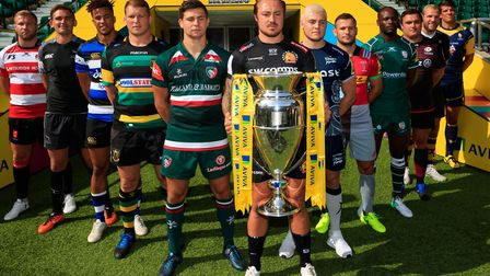 Ben Youngs, fifth from right, at the Aviva Premiership season launch at Twickenham with captains of
