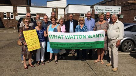 Members of the What Watton Wants pressure group before the planning inquiry into a bid to build 177