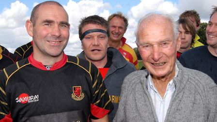 Bob Sutton, right, at a Wymondham Rugby Football Club charity day in 2010. Picture: Bob Hobbs