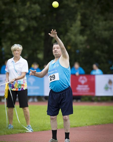 Norfolk's senior competitor Stephen Eastaugh, 55, won silver in the softball throw. Picture: Michael