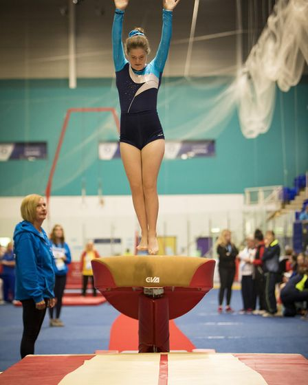 Gymnast Evie Rodwell from Diss on her way to a five-medal haul. Picture: Michael Lyons