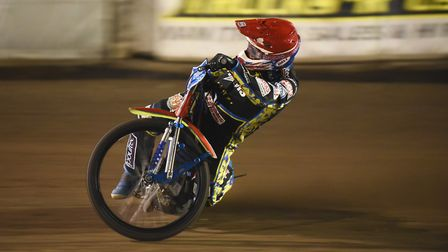 Robert Lambert on his way to a maximum against the Leicester Lions. Picture: Ian Burt