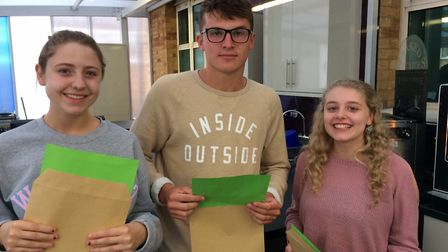 Sheringham High School A-Level results day. L-r, Bronte Fulcher, Jamie Hewitt, and Meghan Jarvis. Pi