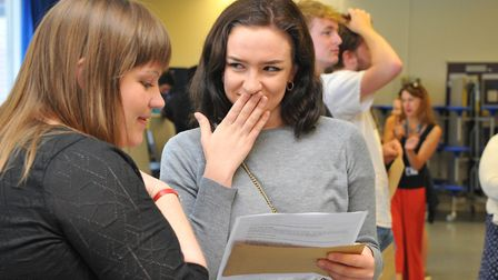 Students at CNS in Norwich get their A Level results. PHOTO BY SIMON FINLAY