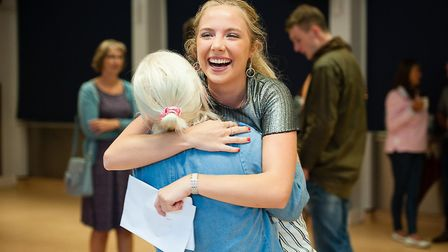 Norwich School students collect their A-level results 2017. Picture: Keith Whitmore