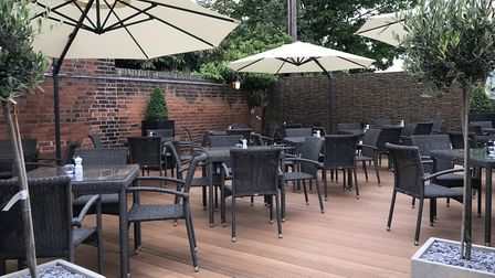 The new-look terrace area at The Crown at Woodbridge. Picture: TA Collection