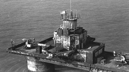The Sunk Head fort in 1965 when it was used to broadcast Tower Radio a small pirate radio station. T