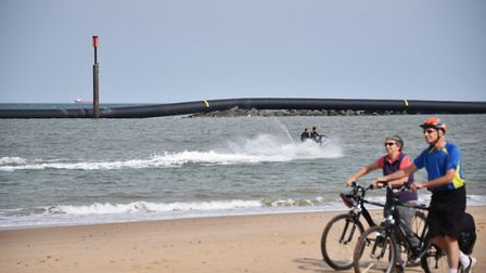 Giant pipe washed up at Sea Palling. Picture : ANTONY KELLY