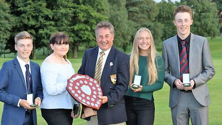 KK Smith Trophy winners Bawburgh with county president Graham Turner. Pictured from left to right ar