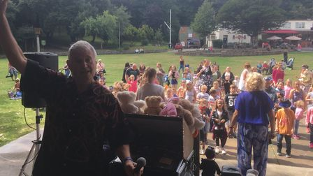 Russell and Sylvia Clarke entertain children in Lowestoft's Sparrow's Nest. Picture: David Hannant