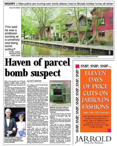 An article in the EDP about Cyrus Ghiassy and the parcel bomb from May 1998. Photo: Archant