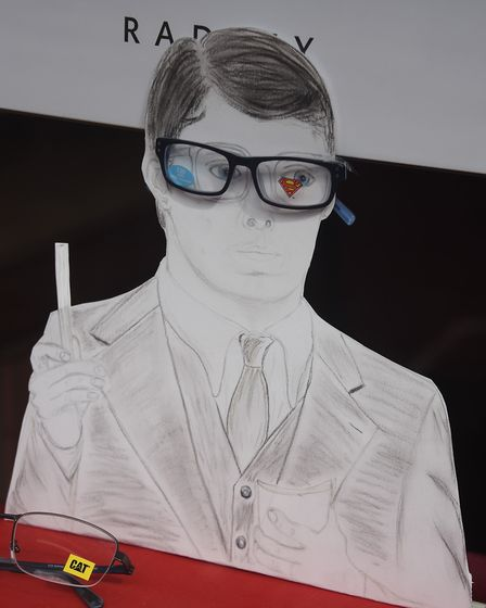 Clark Kent in glasses in the shop window at Martin Christopher Opticians for the Attleborough Fun Fe