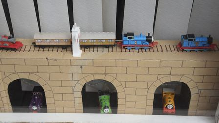 Thomas the Tank Engine in the shop window at Martin Adcocks for the Attleborough Fun Fest cartoon th