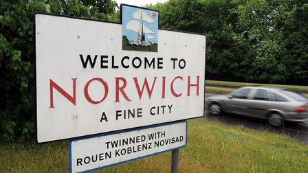 Welcome to Norwich sign on Dereham Road. Picture: James Bass