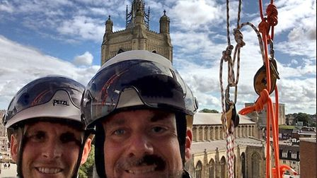 Simon Page and Matt Jeffries before their abseil as part of a team of colleagues from 3sun who raise