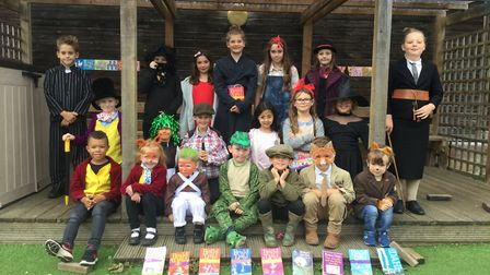 Willy Wonka and Matilda could be seen walking around Alburgh with Denton Primary School on Wednesday