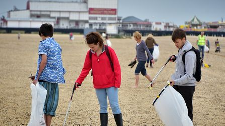 A previous beach clean in Great Yarmouth. Picture: ANTONY KELLY