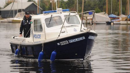 The police Broads Beat boat on patrol in The Broads. Picture: Denise Bradley