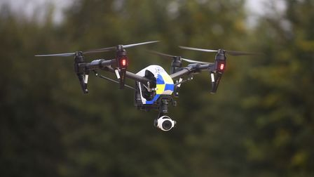 A police drone takes to the air as Operation Galileo gets under way. Picture: Ian Burt