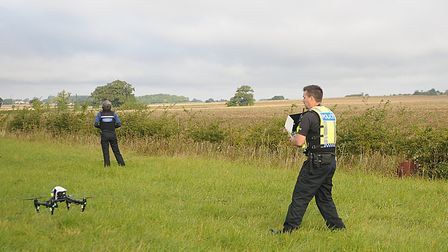 Officers launch a drone during Operation Galileo. Picture: Chris Bishop