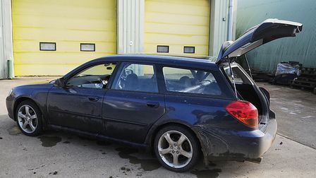 The car seized by police after it was abandoned at a timber yard. Picture: Chris Bishop
