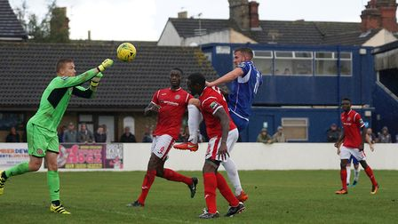 Shaun Bammant heads for goal against Harlow during Lowestoft's FA Cup defeat last weekend. Picture: