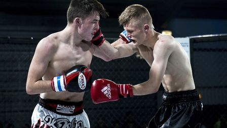 Jack Purdy, right, beat Jake Catterall in a thrilling fight for the vacant 61kg youth K1 title at Co