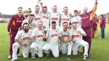 Sudbury celebrate clinching the Gibbs Denley East Anglian League title after their game against Swar