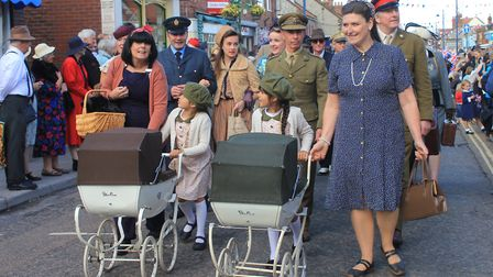 The North Norfolk Railway's 1940s weekend people's parade on Sunday. Picture: KAREN BETHELL
