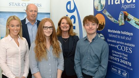Fred Olsen Travel has hired five apprentices. From left, Georgia Trower-Mower, managing director Ste