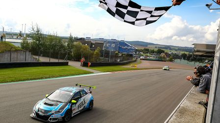 Josh Files taking the chequered flag for the fifth time in the TCR German series. Picture: TCR Germa