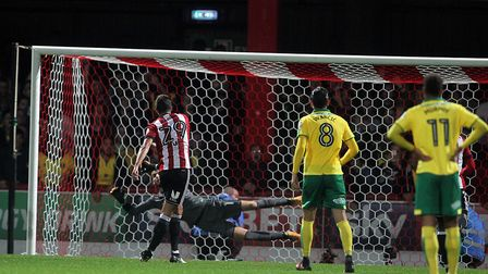 Yoann Barbet of Brentford blasts his penalty kick over the bar during the Carabao Cup match at Griff