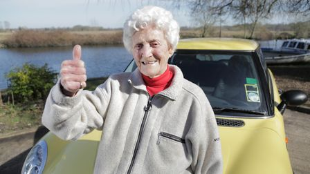 Eileen Ash, 105, with her yellow MiniEileen is on of 8 people in the UK aged 105 years and still h