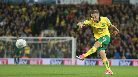 Marco Stiepermann shots during Norwich City's goalless draw with Burton Albion at Carrow Road. Pictu
