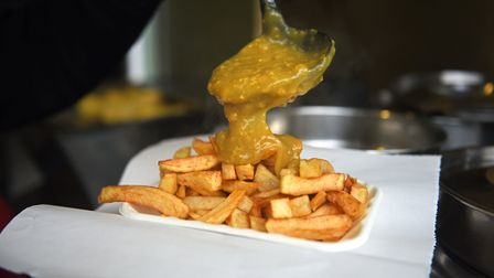 Lucy's Chips stall on Norwich Market. Chips and curry sauce.Picture: ANTONY KELLY