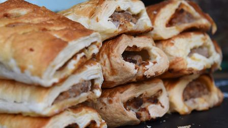 Caramelised onion, chilli jame, and plain sausage rolls on the 'And Eat It' cake and bakery stall at