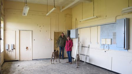 Shelly and Jon Booty in one of the rooms at the former RAF Raynham Control Tower. Picture: DENISE BR