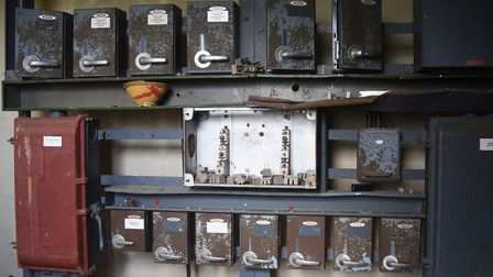 The control boxes in the switch room at the former RAF Raynham Control Tower. Picture: DENISE BRADLE