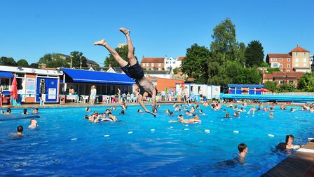 Visitors enjoying Beccles Lido this summer. Picture: Nick Butcher.