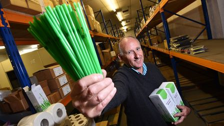 George Wickham, owner of Summit Supplies, pictured with the biodegradable straws which he sells. Pic