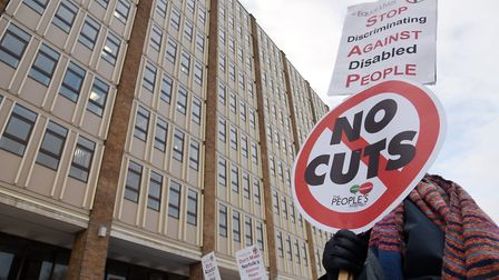 Protesters at County Hall when cuts were previously put forward. Photo : Steve Adams
