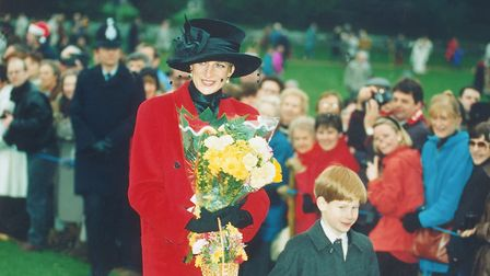 PRINCESS DIANA AT A SANDRINGHAM SERVICE ON CHRISTMAS DAY 1993. Photo: Archant Library
